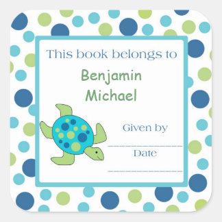 Point de vert bleu d étiquette d ex-libris de tort autocollants carrés