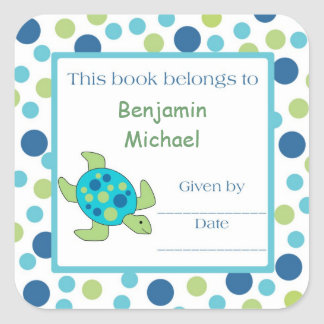 Point de vert bleu d'étiquette d'ex-libris de sticker carré