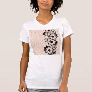 Point et fleurs de polka de T-shirt
