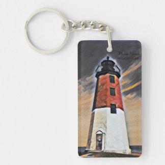 Point Judith lighthouse art keychain