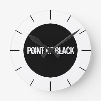 """Point of Black"" Round Clock"
