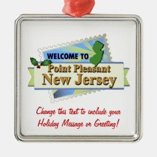 Point Pleasant NJ Silver-Colored Square Ornament