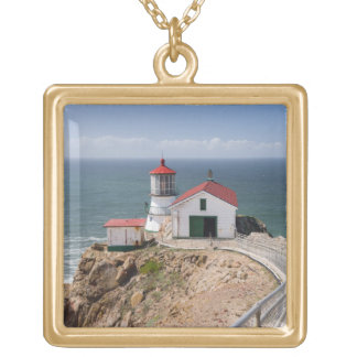 Point Reyes Lighthouse, Marin County, California Gold Plated Necklace