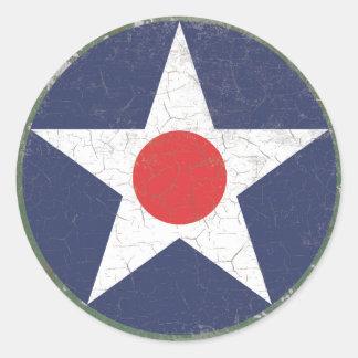 Point rouge rustique de rondeau d'étoile sticker rond