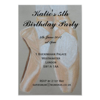 Pointe ballet shoes party invitation