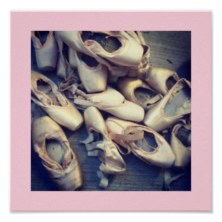 Pointe Shoe Poster 12x12 Pink Border