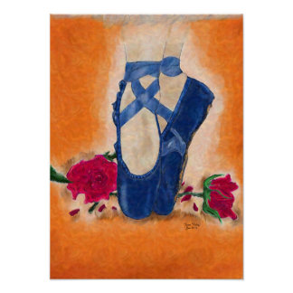 Pointe Shoes and Roses Poster
