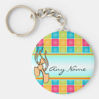 Pointe Shoes on Plaid Ballet Basic Round Button Keychain