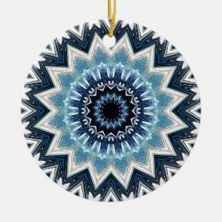 Pointed Blue Mandala Round Ceramic Ornament