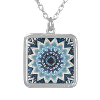 Pointed Blue Mandala Silver Plated Necklace