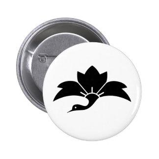 Pointed-leaf crane-shaped rhombic flower 2 inch round button