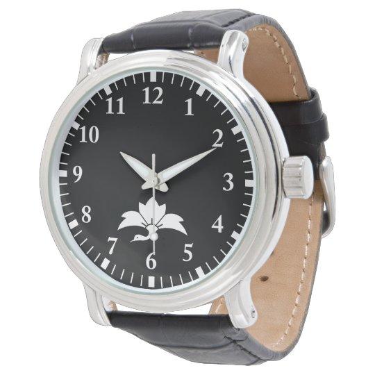 Pointed-leaf crane-shaped rhombic flower wrist watch