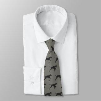 Pointer Dog Silhouettes Pattern Tie