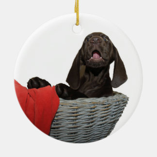 Pointer Sister in a basket Round Ceramic Ornament