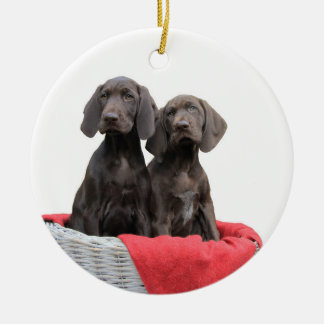 Pointer Sisters in a basket Round Ceramic Ornament