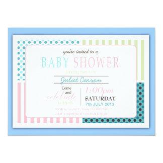 Pointille l'invitation de baby shower de rayures carton d'invitation  13,97 cm x 19,05 cm