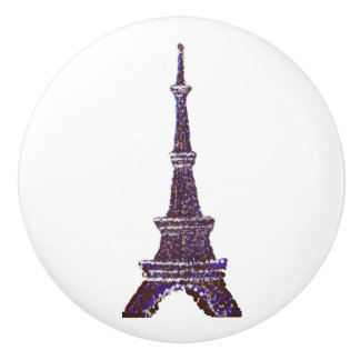 Pointillism Eiffel Tower ceramic drawer knobs Ceramic Knob