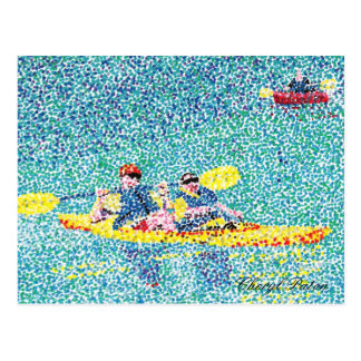 Pointillism kayak scene on the river postcard