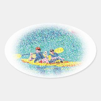 Pointillism Kayak Scene Painting, oval stickers