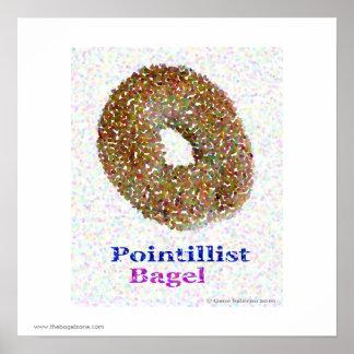 Pointillist Bagel Poster