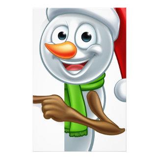 Pointing Cartoon Christmas Santa Hat Snowman Custom Stationery