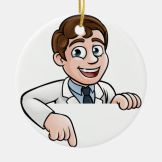 Pointing Cartoon Scientist Character Sign Ceramic Ornament