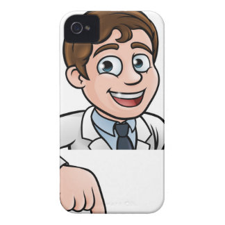 Pointing Cartoon Scientist Character Sign iPhone 4 Case