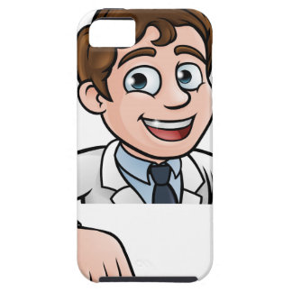 Pointing Cartoon Scientist Character Sign iPhone 5 Case