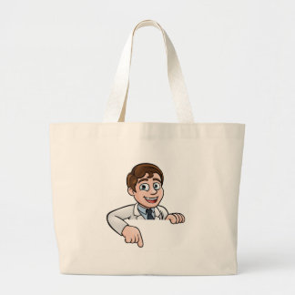 Pointing Cartoon Scientist Character Sign Large Tote Bag