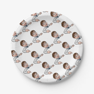 Pointing Cartoon Scientist Character Sign Paper Plate