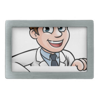 Pointing Cartoon Scientist Character Sign Rectangular Belt Buckles