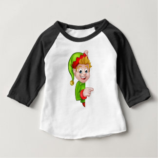 Pointing Christmas Elf Cartoon Character Baby T-Shirt