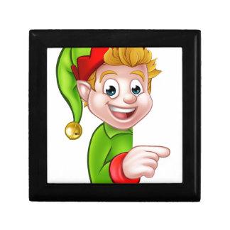 Pointing Christmas Elf Cartoon Character Jewelry Box