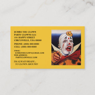 Circus party business cards business card printing zazzle ca pointing clown business cards make a statement reheart Gallery