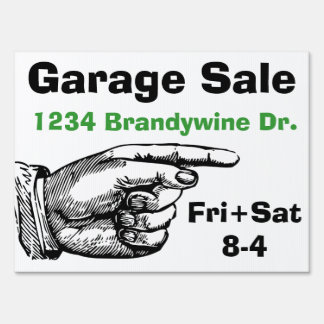 Pointing Finger Garage Sale Yard Sign