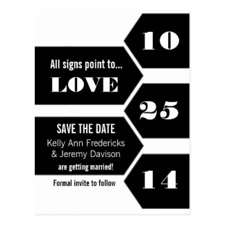 Pointing Towards Love Save the Date Postcard