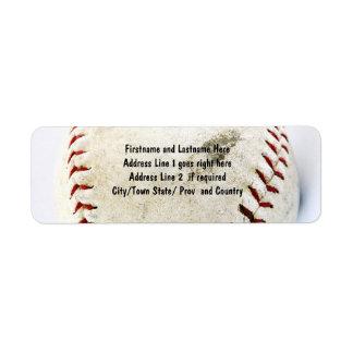 Points vintages de base-ball ou de base-ball étiquette d'adresse retour