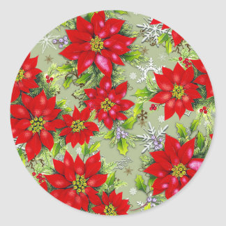 Pointsettia x -mas designs round sticker