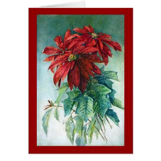 Pointsettias Watercolor Fine Art Greeting Card
