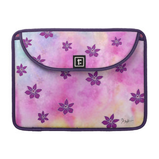 Pointy Dark Flowers on Colorful Watercolors Sleeve For MacBook Pro