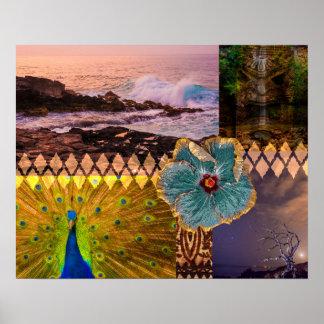 Poipu Sunrise, Kauai Hawaiian Collage Poster