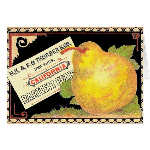 Poires de Thurber - étiquette vintage de caisse de Cartes De Vœux