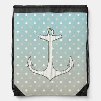 Pois blanc bronzage bleu d'ancre nautique vintage sac avec cordons