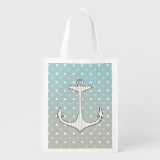 Pois blanc bronzage bleu d'ancre nautique vintage sac réutilisable d'épcierie