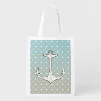 Pois blanc bronzage bleu d'ancre nautique vintage sacs d'épicerie