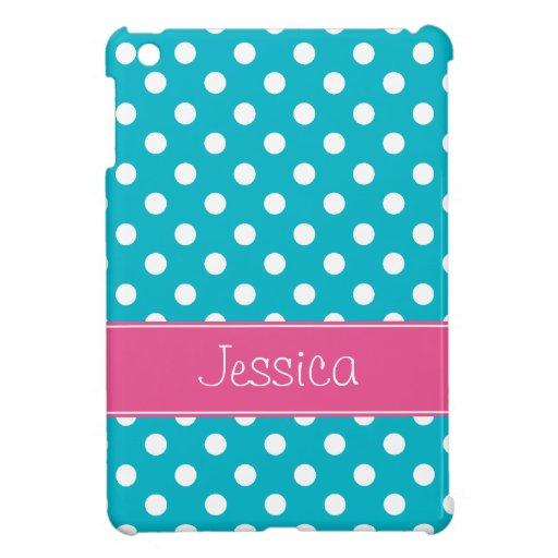 Pois bleu et rose turquoise de très bon goût perso coque pour iPad mini