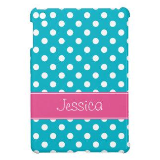 Pois bleu et rose turquoise de très bon goût perso coque iPad mini