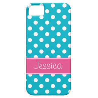 Pois bleu rose et turquoise de très bon goût perso iPhone 5 case