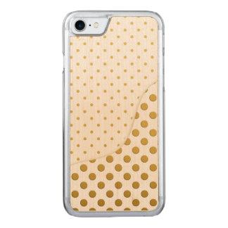 Pois dans l'or et le blanc coque en bois iPhone 7