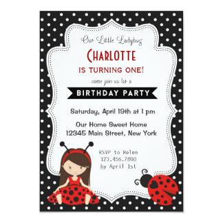 Pois de rouge de noir d'invitation d'anniversaire carton d'invitation  12,7 cm x 17,78 cm